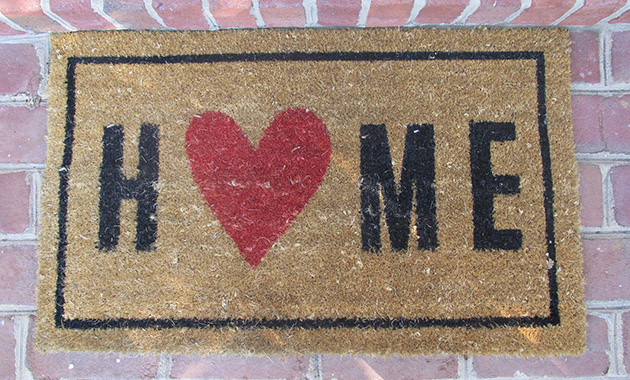 welcome mat with home on it
