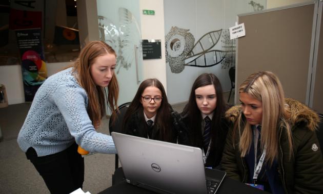 School girls round computer at DataFest Fringe 2019
