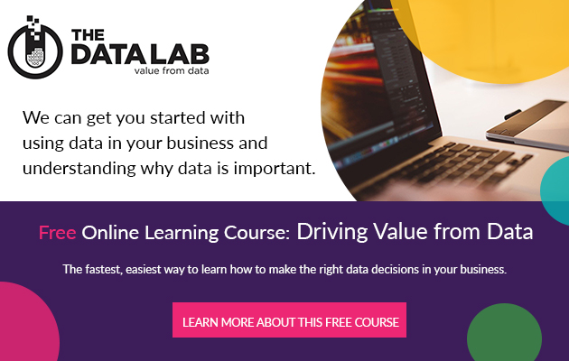Banner advert for Online learning course: Driving value from data