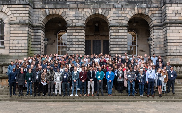 MSc group photo 19-20 standing on steps of University building