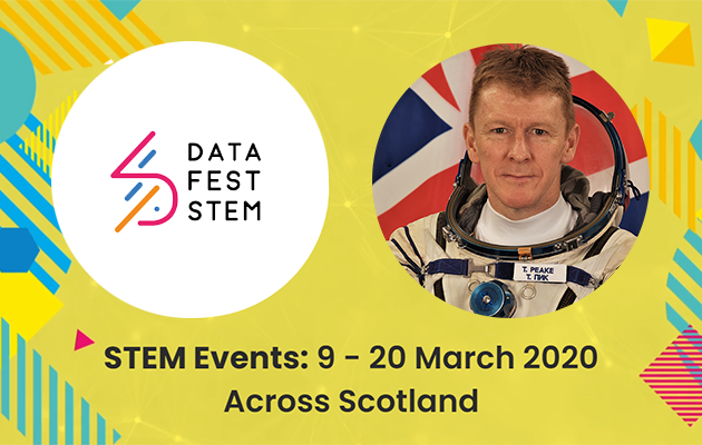DataFest STEM event with picture of Tim Peake as astronaut