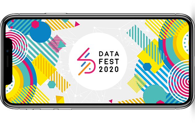 Mobile phone showing DataFest 2020 app