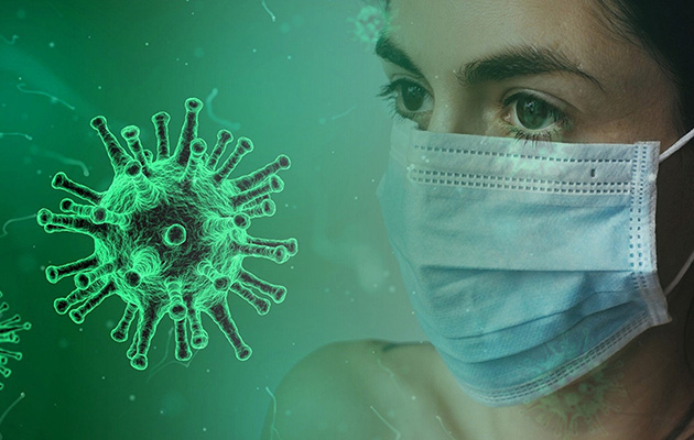 Virus and person in mask
