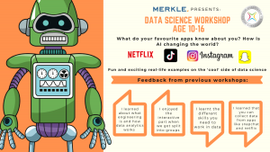 Flier advertising Data Science meetup for 10-16 year olds