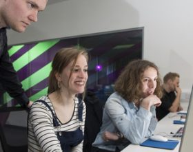 Students working in the Broadcast Newsroom at Merchiston